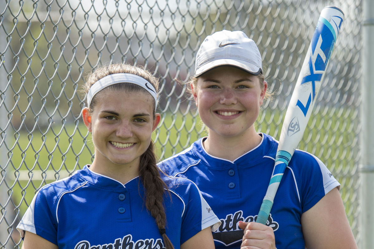 Quakertown centerfielder Tara Baglivo (left) and first baseman Lauren Beal pose before the game against Upper Moreland on Thursday. Baglivo will play for Bucknell University next year while Beal will play for Marist College.