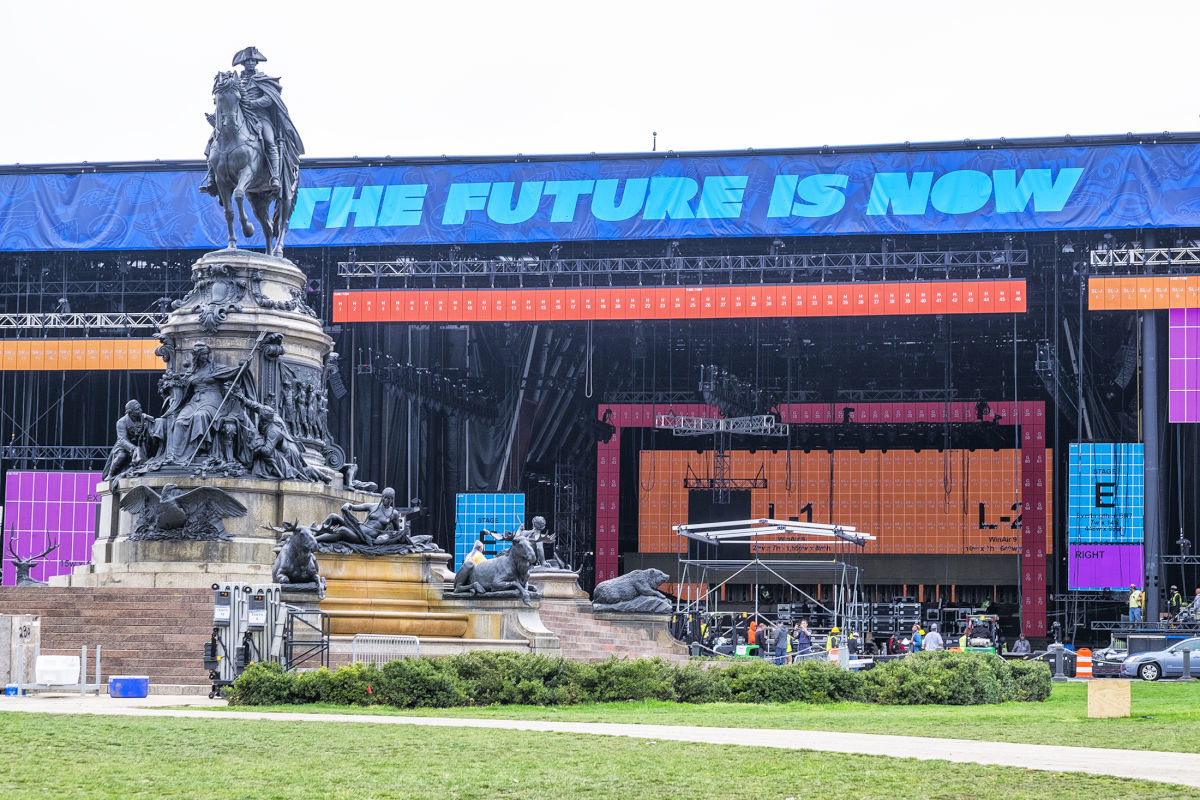 Earlier this month, work crews were building the stages for the upcoming NFL Draft on the Benjamin Franklin Parkway in Center City, Philadelphia. The draft starts Thursday.