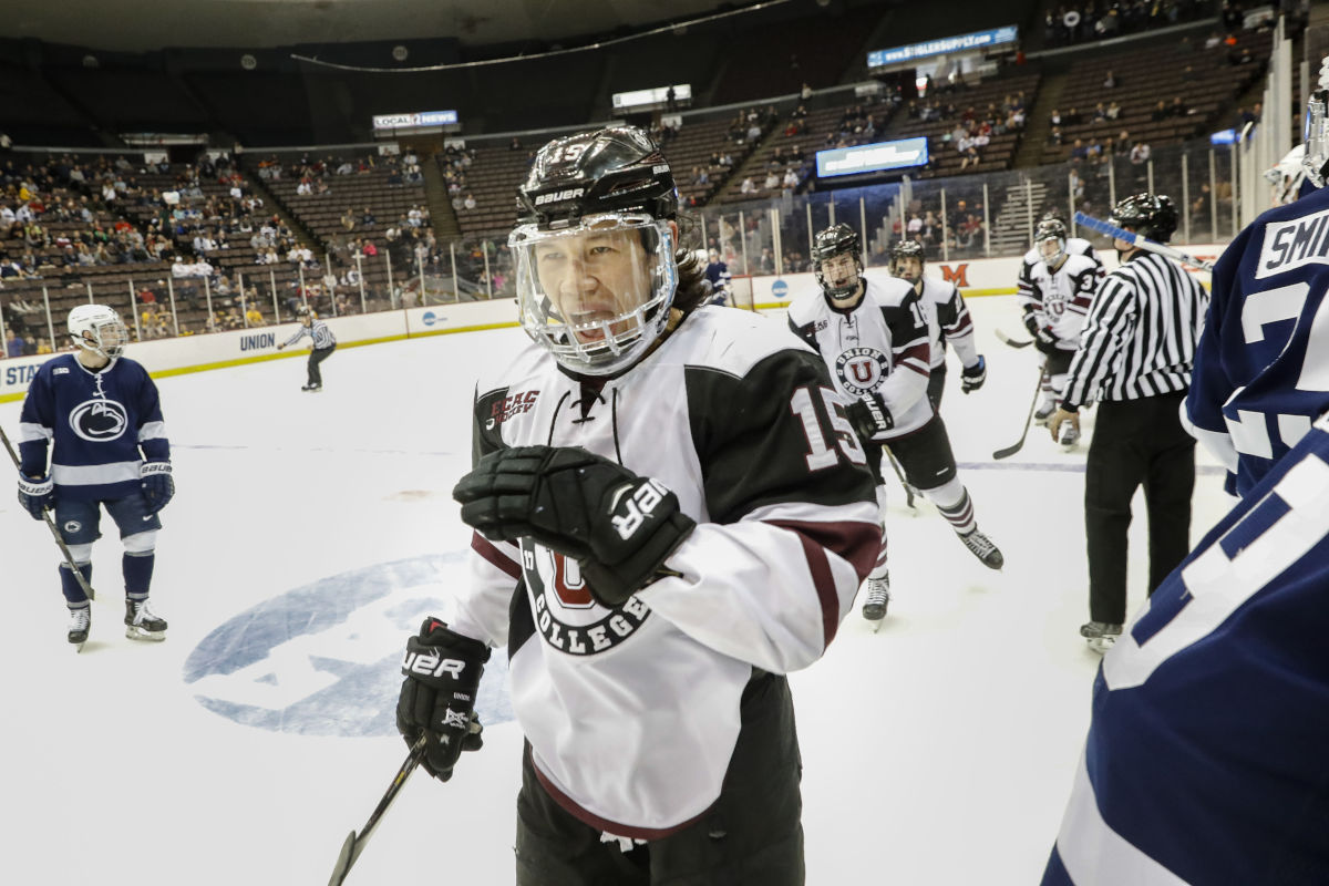 Union´s Spencer Foo (15) celebrates his goal during the first period in the regional semifinals of the NCAA college hockey tournament against Penn State, Saturday, March 25, 2017, in Cincinnati.