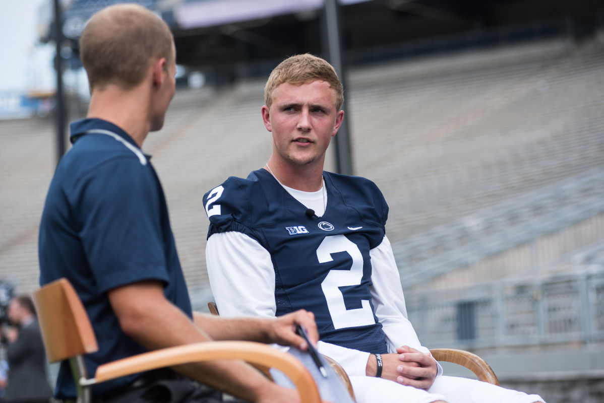 Penn State quarterback Tommy Stevens addresses questions from Penn State Sports Network broadcaster Brian Tripp during a Media Day event inside Beaver Stadium back in August. Stevens threw three touchdowns for the Blue in its 26-0 win in the annual Blue-White game Saturday, April 22, 2017.<br /><br />