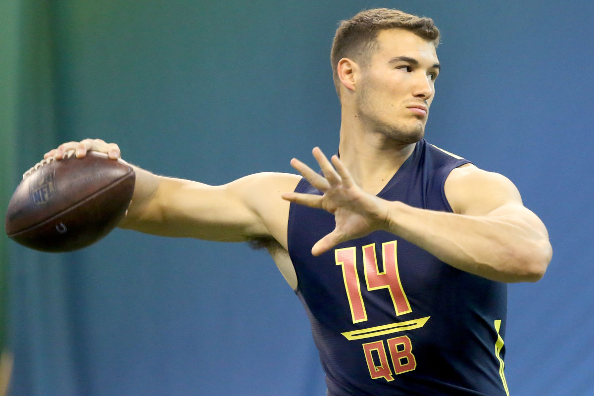 North Carolina quarterback Mitchell Trubisky throws during a drill at the 2017 NFL football scouting combine Saturday, March 4, 2017, in Indianapolis.