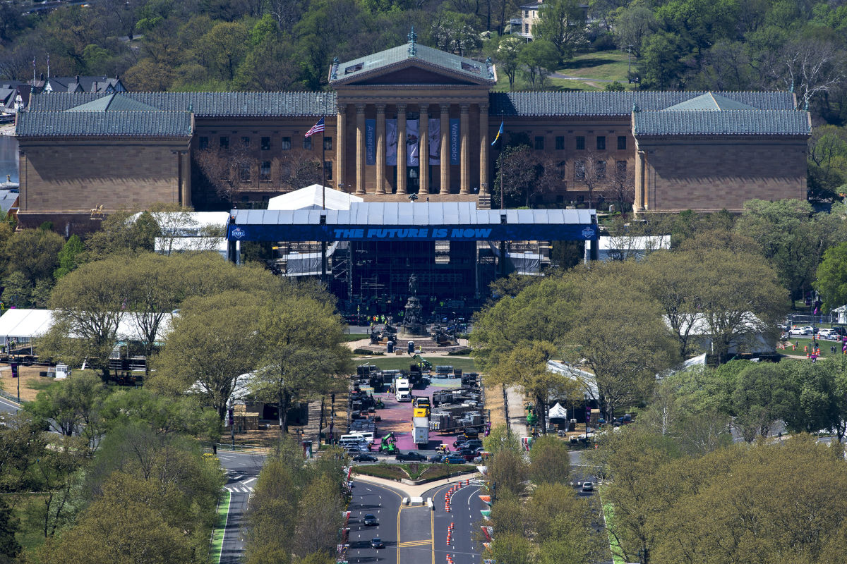 The front of the Philadelphia Museum of Art, and the steps made famous by Rocky, are completely covered by construction of an amphitheater being built for the upcoming NFL draft 2017 extravaganza, set for April 27-29.