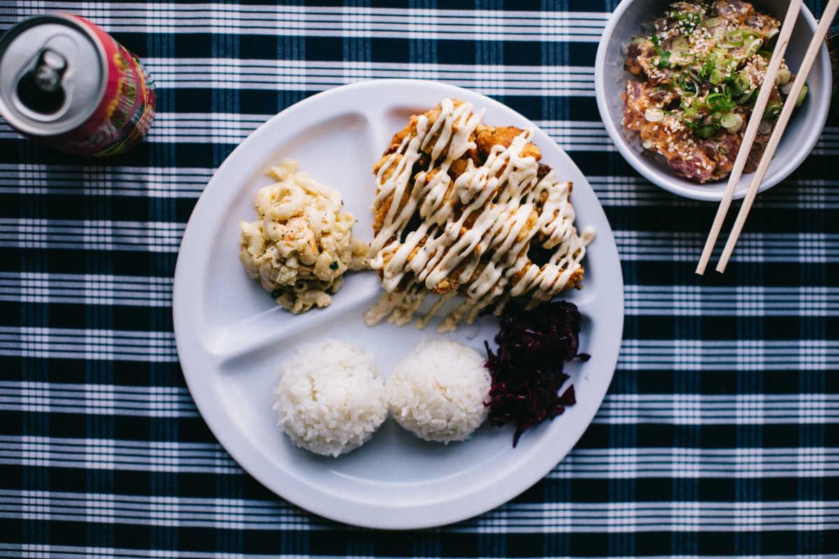 The Mochi Nori fried chicken platter from Poi Dog.
