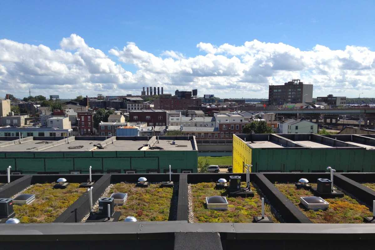 Across Philadelphia, green roofs have been a popular, space-saving way to control water run-off into the city´s overburdened sewer system and protect its rivers. A bill just passed by Councilman Mark Squilla would exempt Society Hill from the zoning code´s green roof bonus. These are green roofs on a Fishtown rowhouse project.