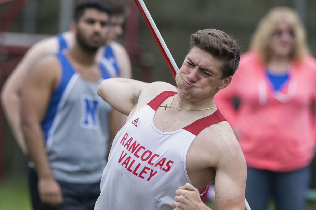 Rancocas Valley's Nick Mirabelli throws the javelin 176 feet, 7 inches in competition against Northern High School on Wednesday. Mirabelli who is prepping for the Penn Relays. ED HILLE / Staff Photographer