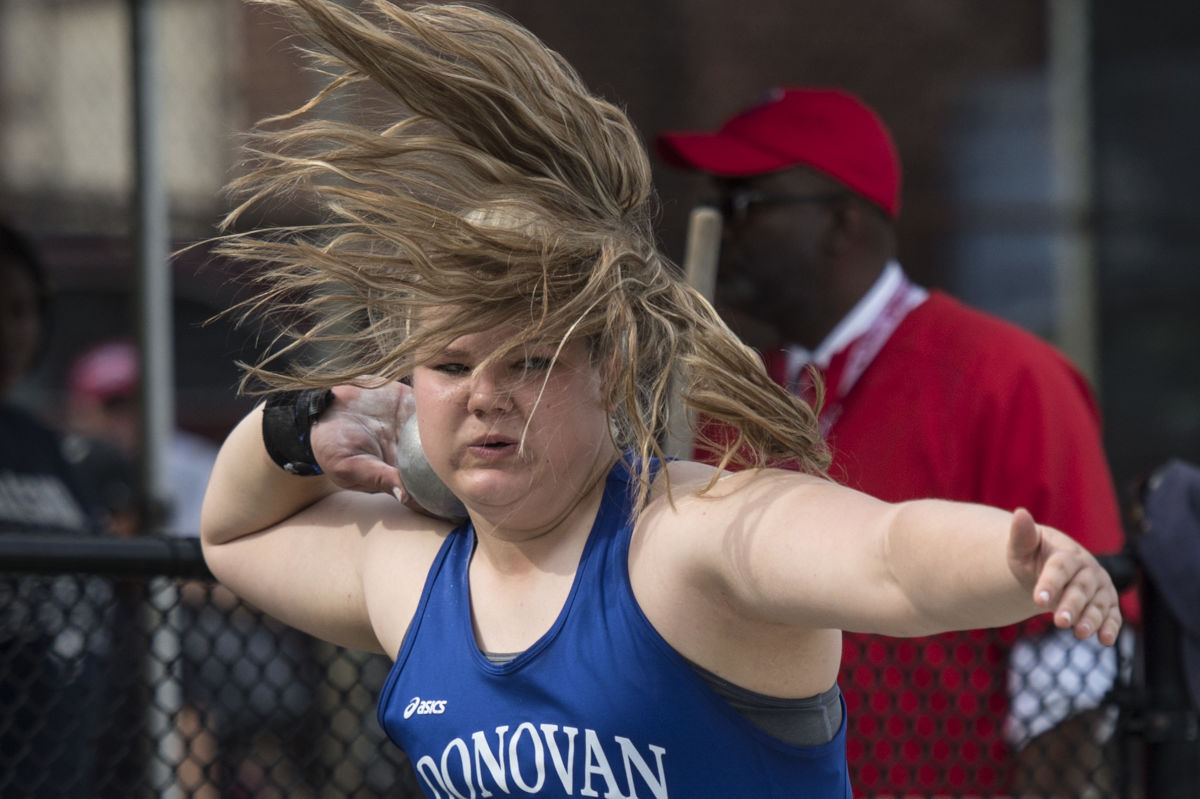 Donovan Catholic High's Alyssa Wilson is a whirling dervish as she puts the shot in the high school girls ' event at the 123rd Penn Relays at Franklin Field, Friday, April 27, 2017.