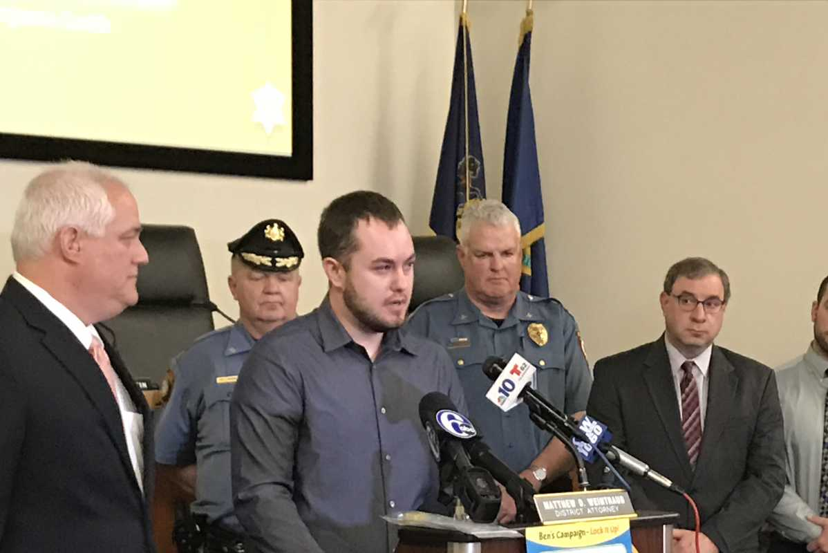 Nicholas Wyllie, who was convicted of involuntary manslaughter after his two-year-old son unintentionally shot himself, speaks about gun safety with local officials.
