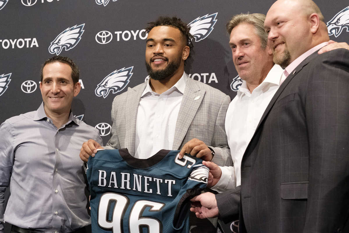 Friday April 28, 2017 The Philadelphia Eagles officially introduced their number one draft pick Derek Barnett, to the media at an afternoon press conference at the teams NovaCare training complex. Here, Derek Barnett poses for a picture with members of the Eagles management , left to right, Howie Roseman, ]executive vice president of football operations, Barnett, Head Coach Doug Pederson and Joe Douglas, vice president of player personnel.