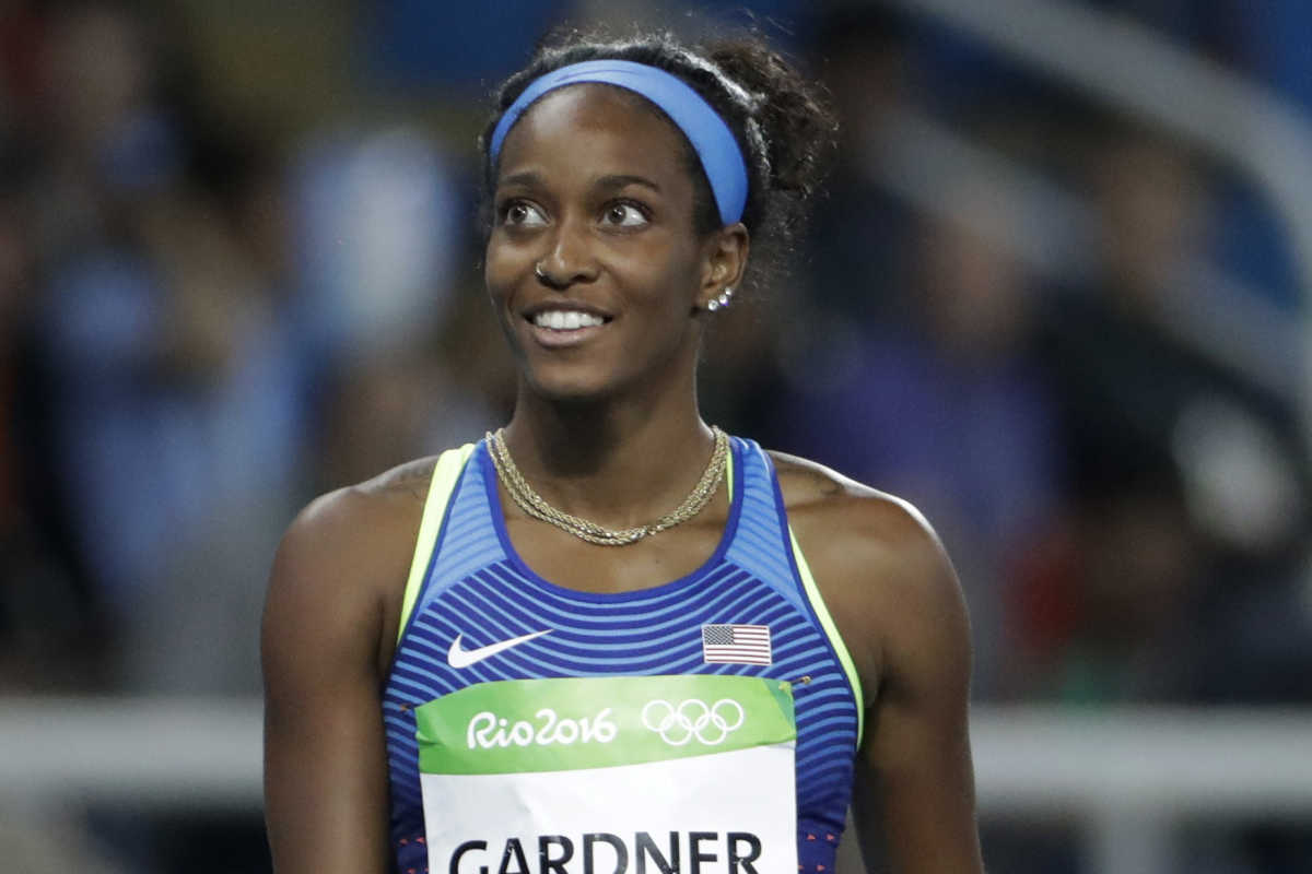 English Gardner places second in 100-meter semifinal during the 2016 Summer Olympics in Rio de Janeiro.
