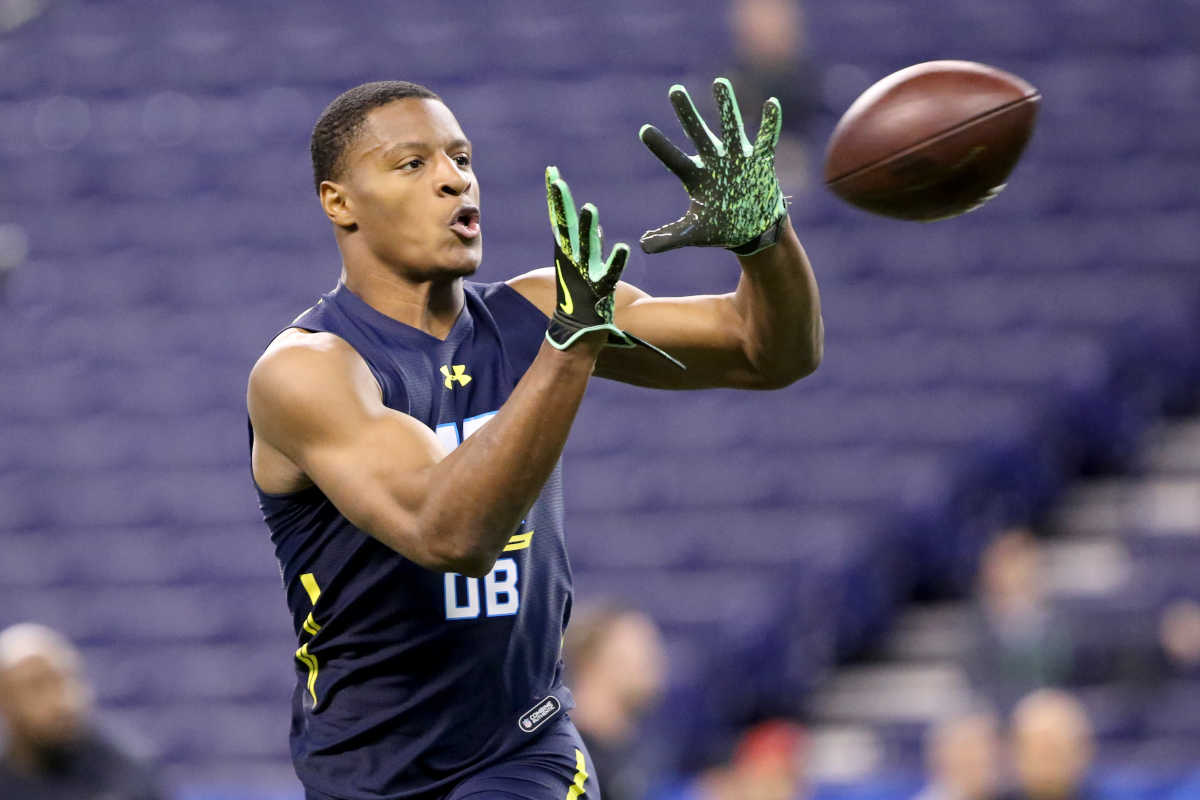 West Virginia defensive back Rasul Douglas competes in a drill at the 2017 NFL football scouting combine Monday, March 6, 2017, in Indianapolis.