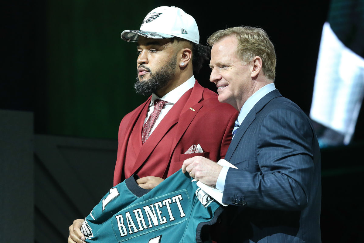 NFL commissioner Roger Goodell poses with Eagles draft pick Derek Barnett on the Art Museum steps, Thursday, April 27, 2017.