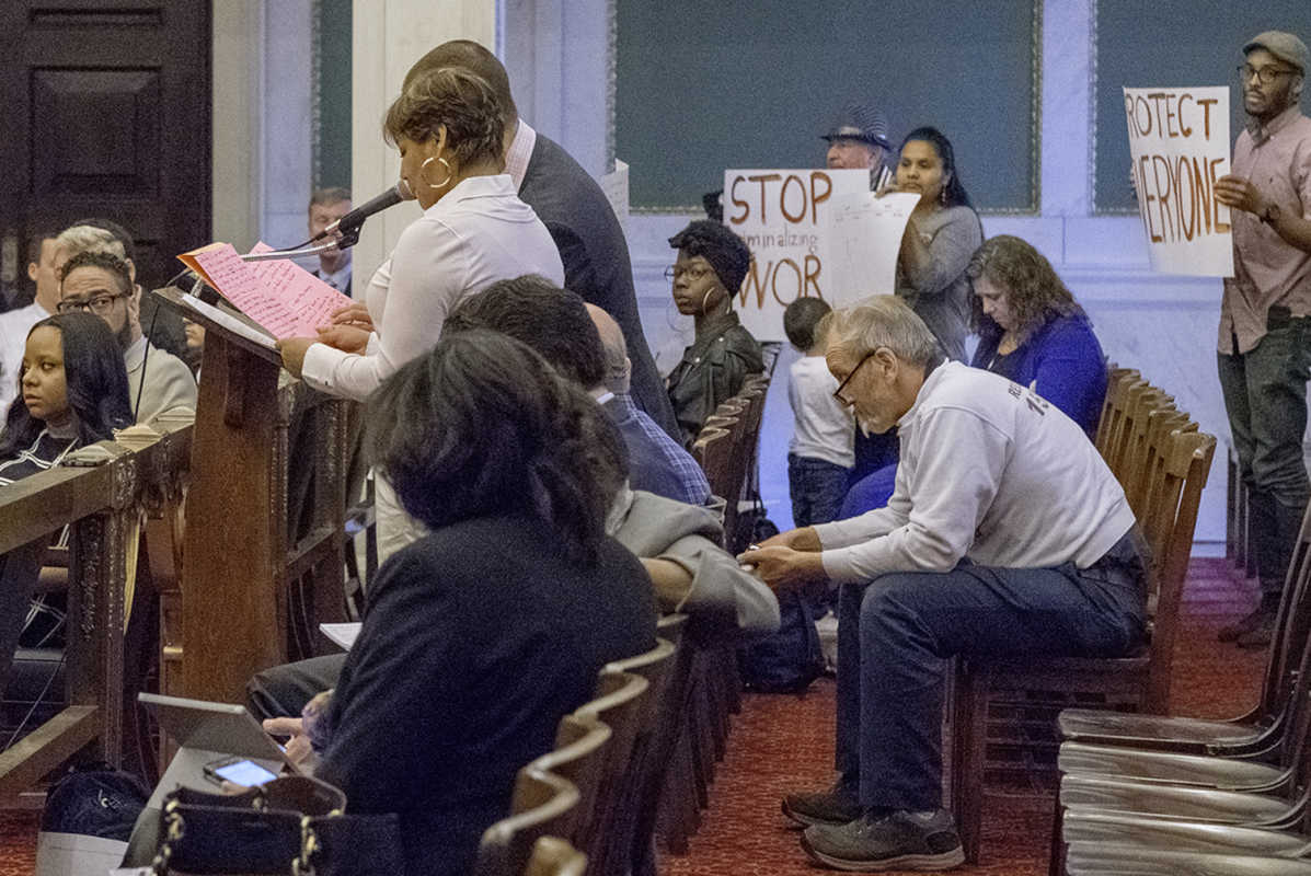 "Philadelphia City Council on Thursday approved a non-binding resolution recognizing ""every person's fundamental right to earn a living, regardless of immigration status."" Here, Estella Hernandez speaks in support of the immigration resolution."