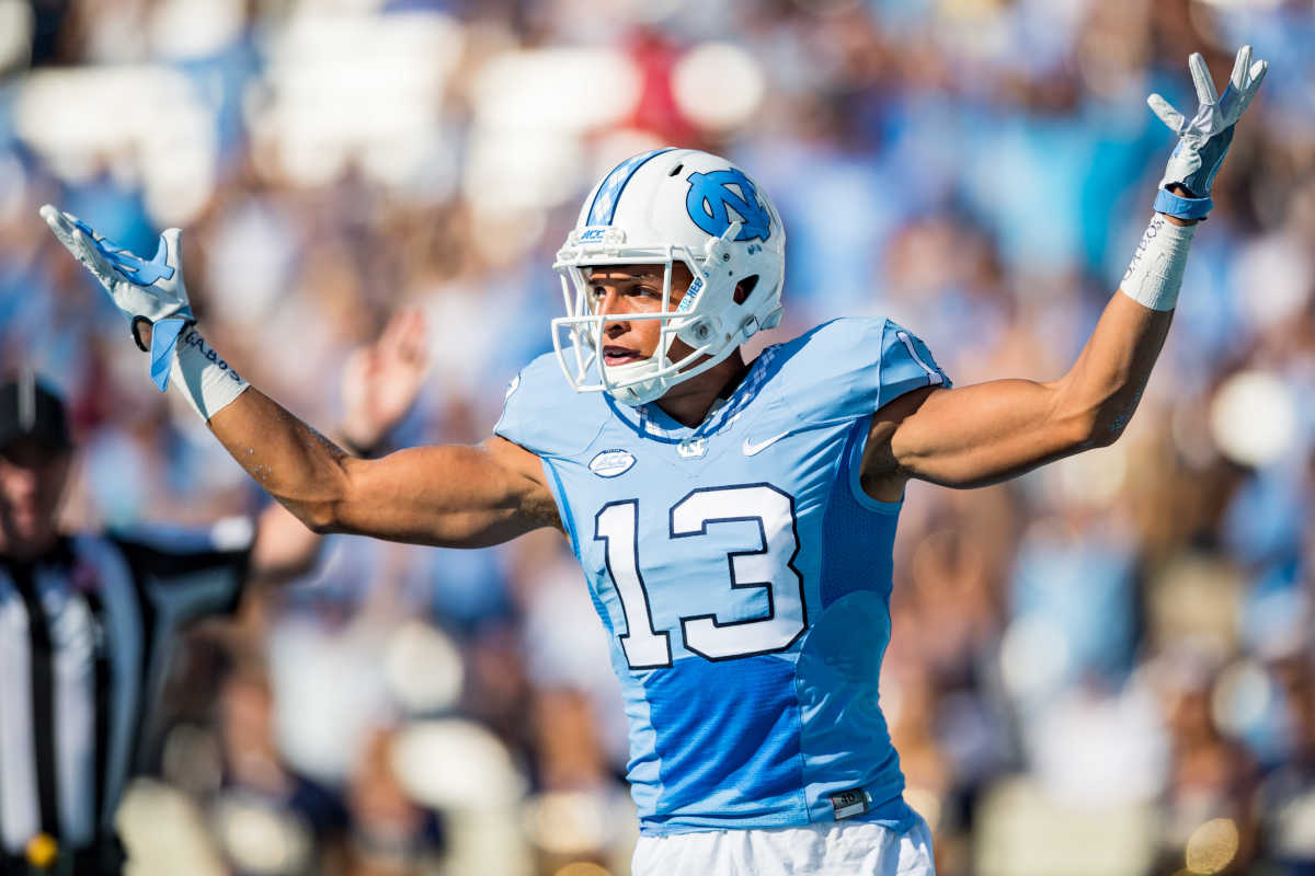 Eagles fourth-round pick Mack Hollins is expected to make an immediate impact on special teams. In this photo, the North Carolina wide receiver is shown after scoring during the NCAA college football game between the Pittsburgh Panthers and University of North Carolina Tar Heels on Saturday Sept 24, 2016 at Kenan Memorial Stadium in Chapel Hill, NC.