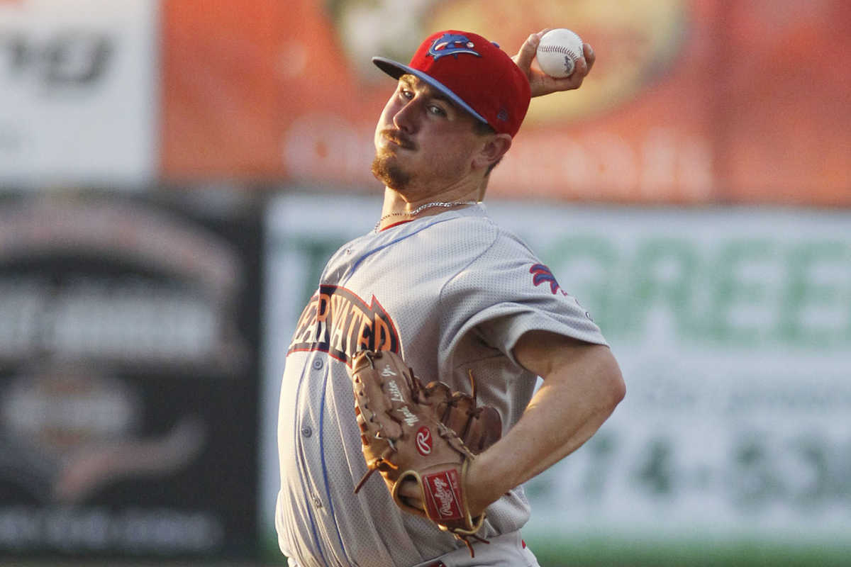 Mark Leiter Jr. delivers a pitch for the Clearwater Threshers in a 2015 file photo.<br />