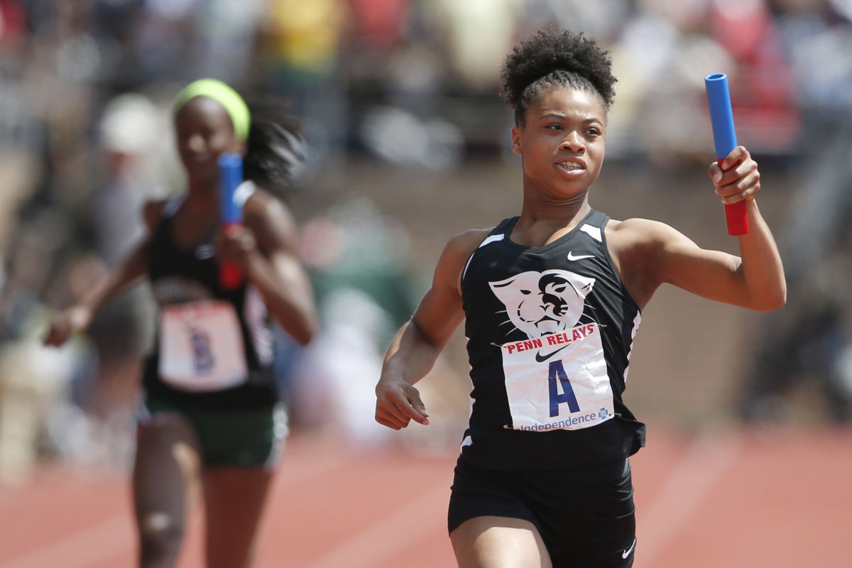 Cheltenham girls and Chanel Brissett won the High School Girls' 4x100m Tri-State at the Penn Relays on April 29, 2017 at Franklin Field.
