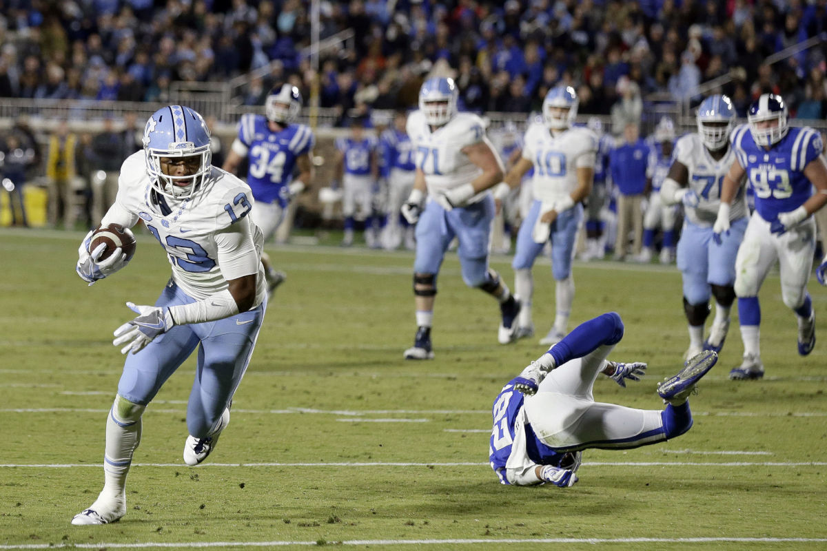 The Eagles picked North Carolina wide receiver Mack Hollins in the fourth round of the NFL draft. In this photo, Hollins (13) runs for a touchdown as Duke´s Mark Gilbert falls during the first half of an NCAA college football game in Durham, N.C., Thursday, Nov. 10, 2016.