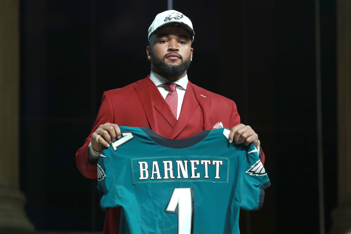 Tennessee's Derek Barnett poses after being selected by the Philadelphia Eagles during the first round of the 2017 NFL football draft on Thursday.