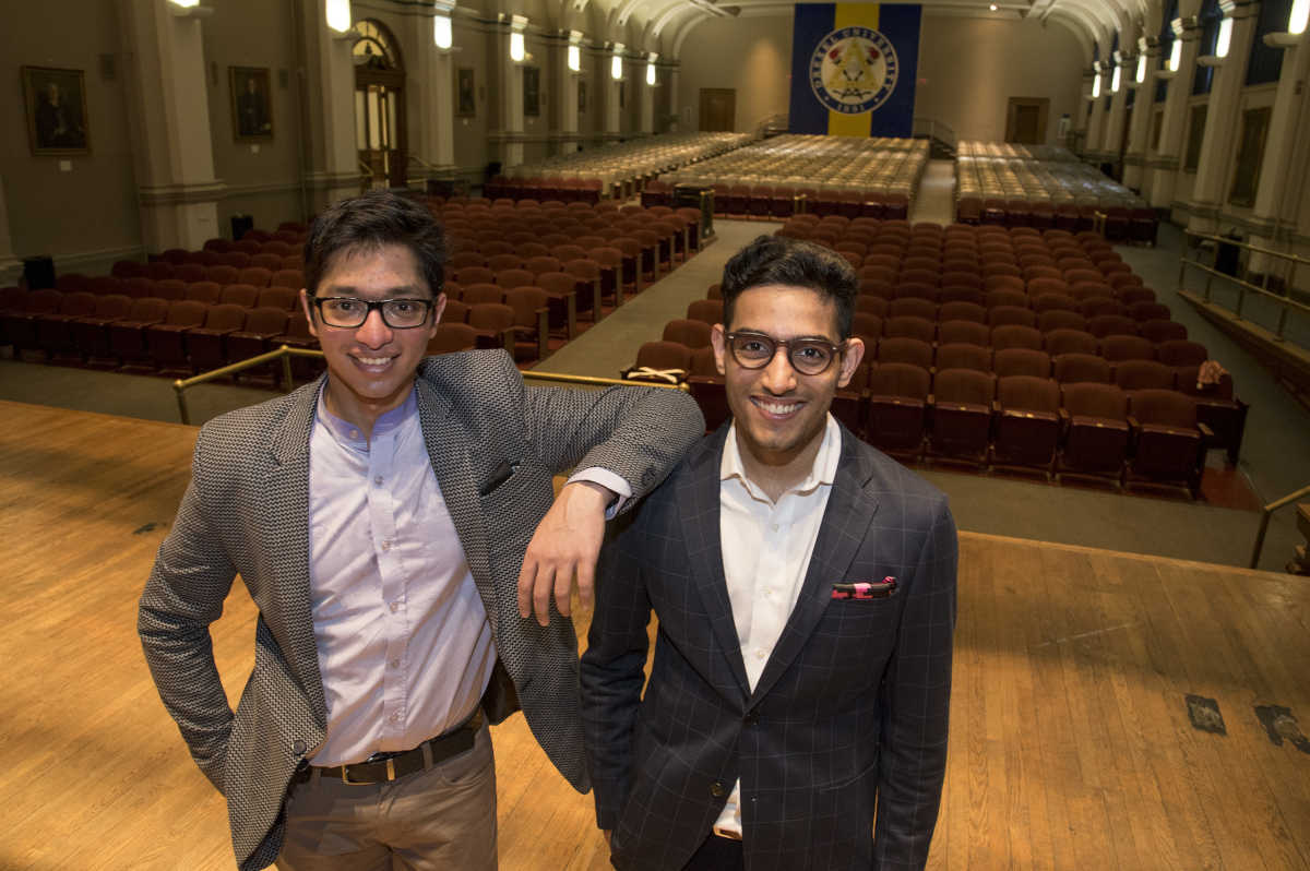 Paritosh Gupta (left) and Danish Dhamani, Drexel University students from Pakistan and India respectively, have developed an app that helps people become better public speakers. Their company, Orai, is in the running for a $100,000 grant from Microsoft.  Photo taken April 26, 2017 in the Drexel University auditorium inside Main Building on Chestnut St. CLEM MURRAY / Staff Photographer