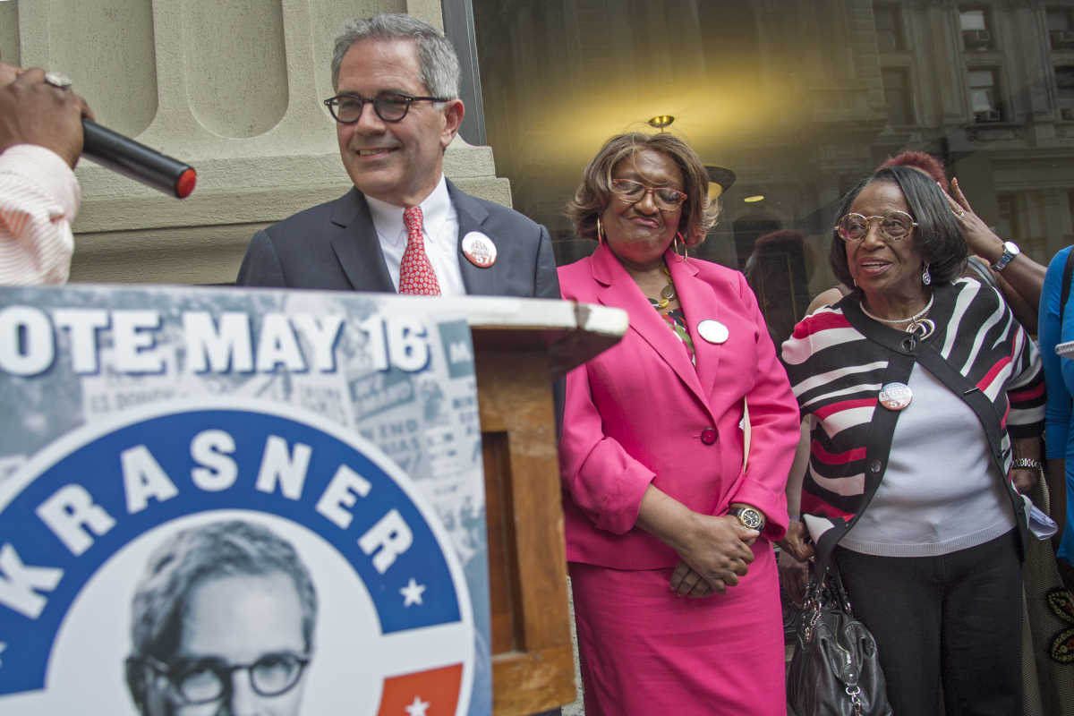 Democratic District Attorney candidate Larry Krasner is endorsed by former City Councilwoman Marian Tasco (right) and State Rep. Isabella Fitzgerald outside the DA's Office May 1, 2017.