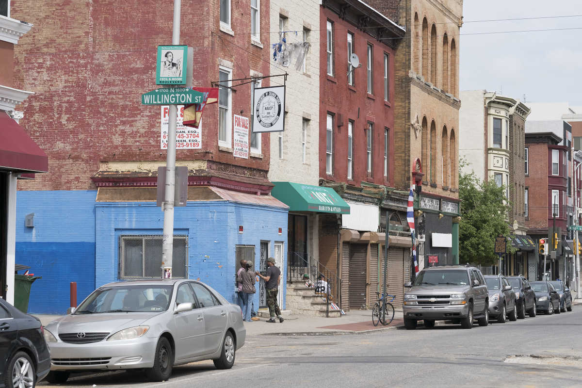 """Earlier this month, City Council passed an ordinance introduced by President Darrell Clarke that would """"down-zone"""" most of the Cecil B. Moore neighborhood -- otherwise known as """"TempleTown"""" to the west of North Broad Street. Here, the intersection of Willington St and Cecil B Moore with the now shuttered NAACP headquarters on the corner."""