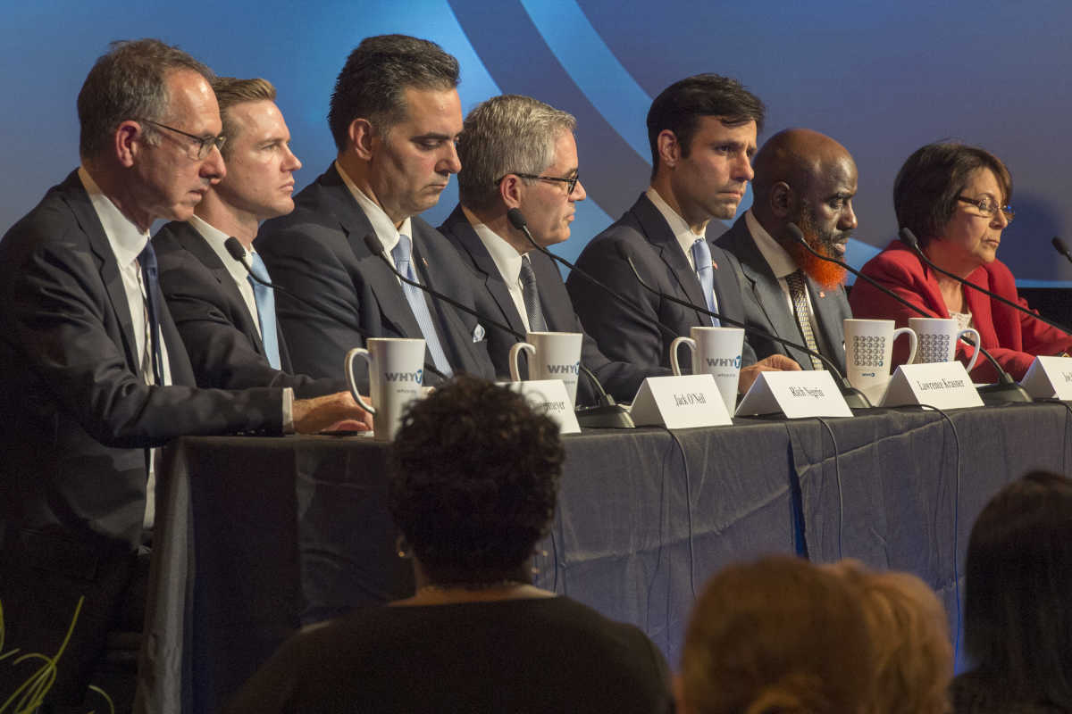 The seven Democrats running for District Attorney appear in a debate last month sponsored by WHYY and the NAACP.
