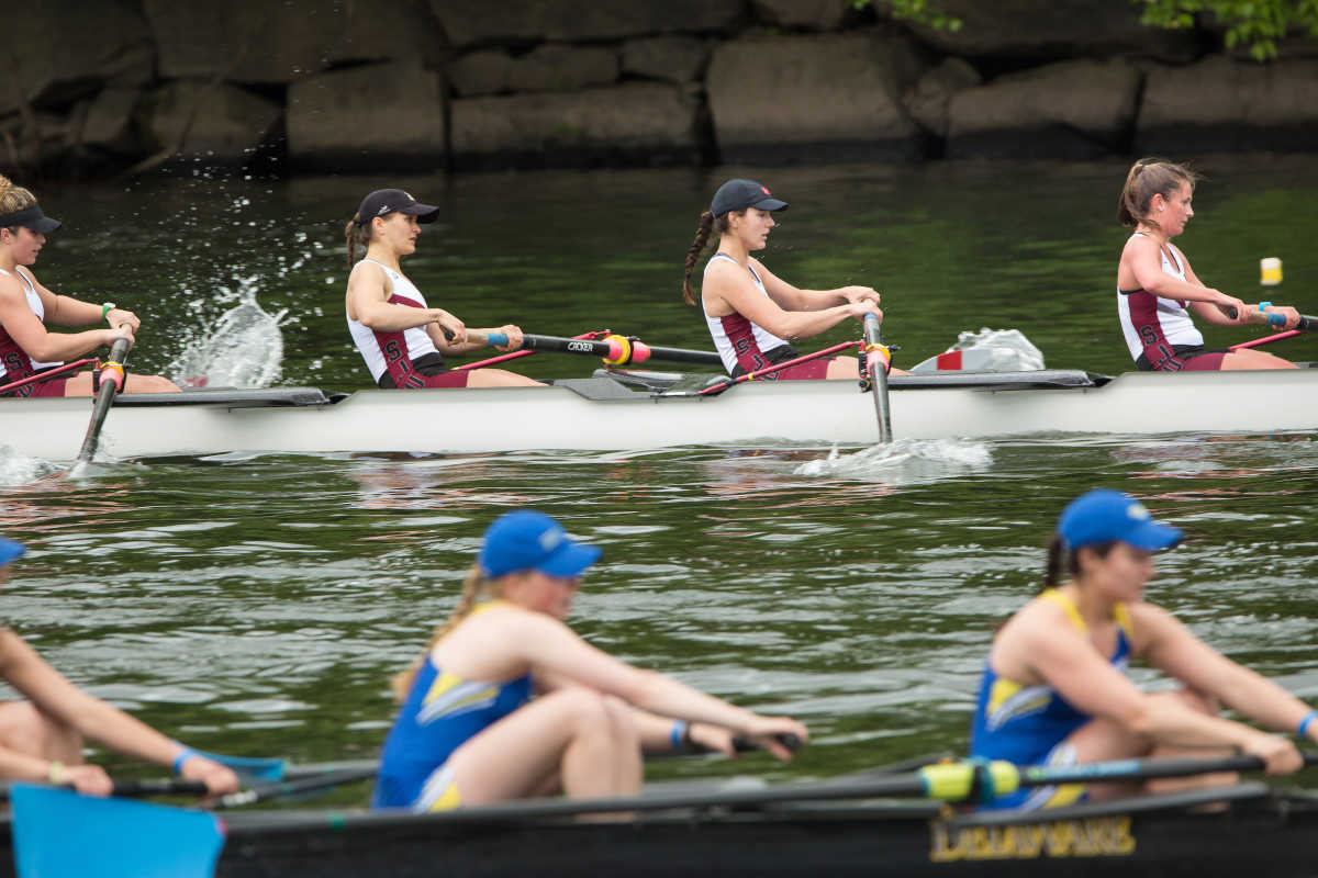 St. Joseph's JV Women's, top, row in the heavyweight girls 8 qualifying heat at the Dad Vail Regatta.