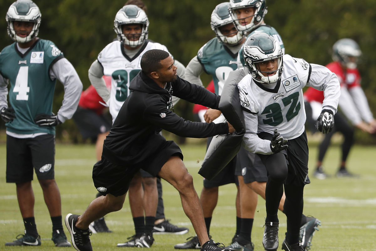 Eagles' Rasul Douglas (right) taking part in a drill in practice.