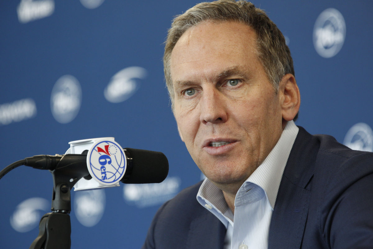 Sixers president of basketball operations Bryan Colangelo speaks to the media during a press conference at the Philadelphia 76ers Training Complex in Camden N.J. on Friday, April 14, 2017.