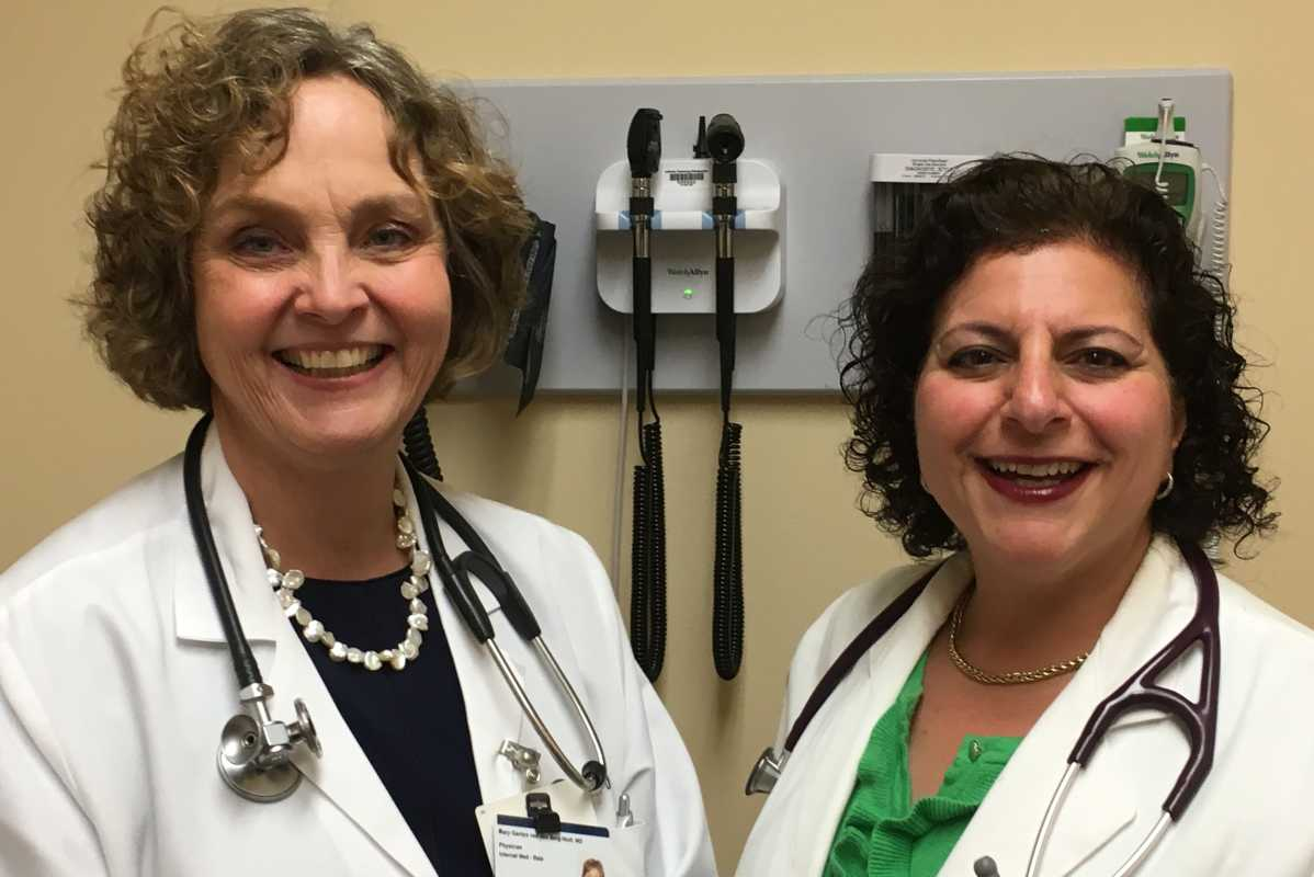 Janine Kyrillos (at right), director of the Jefferson Comprehensive Weight Management Program at Bala helped internist  Mary van den Berg-Wolf (at left) make changes in her diet to rev up her metabolism.