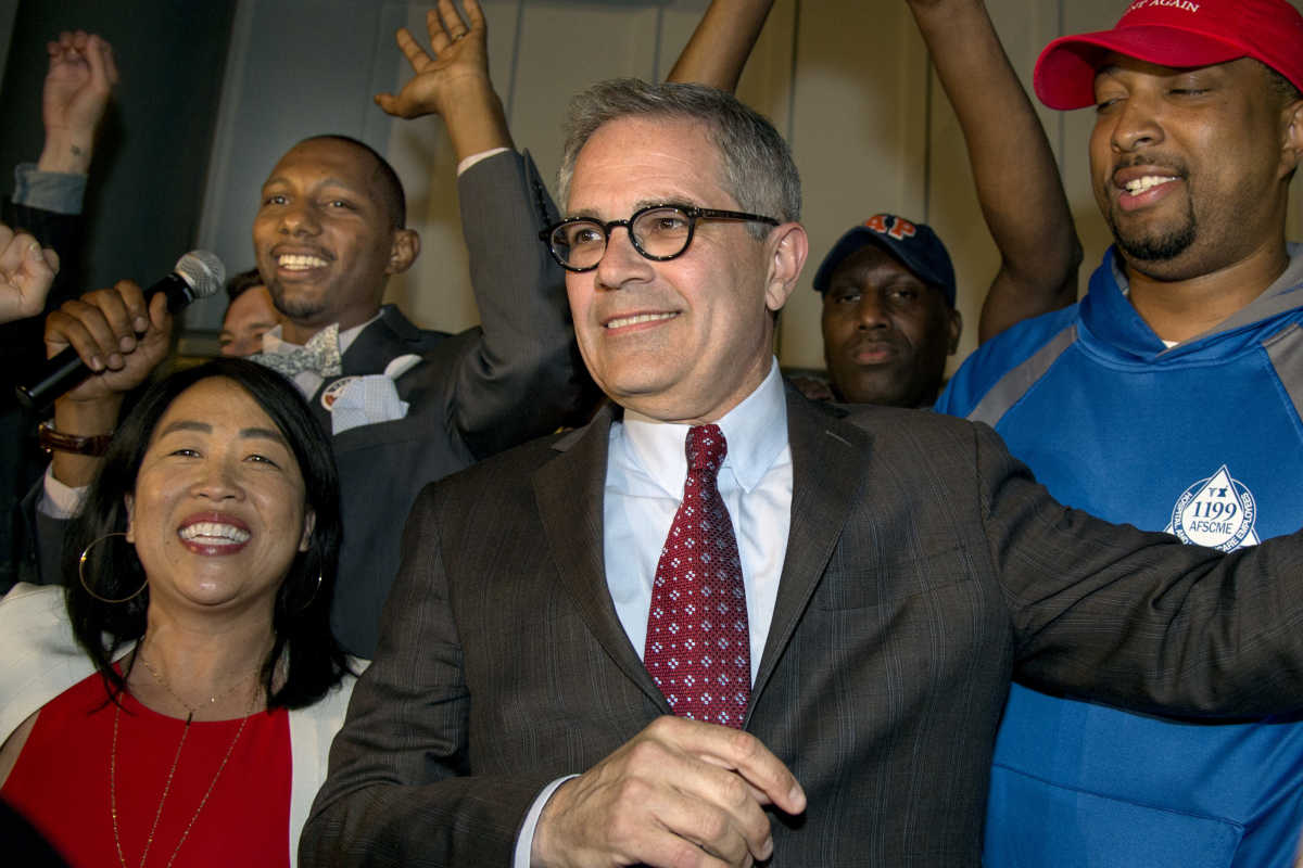 Civil rights attorney Larry Krasner celebrates his victory in the Democratic primary for district attorney of Philadelphia.