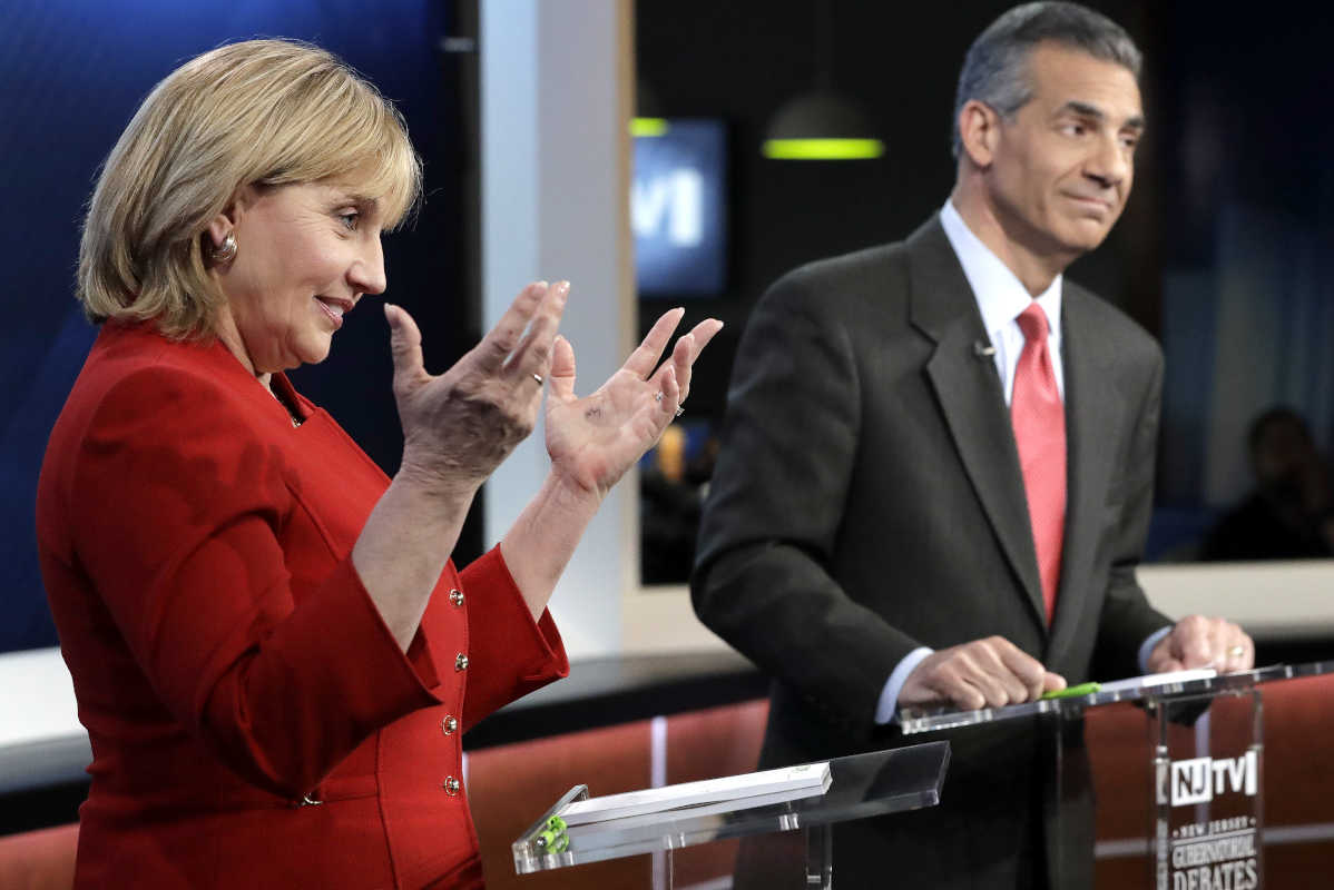 New Jersey Lt. Gov. Kim Guadagno makes a point in the second and final GOP debate with Assemblyman Jack Ciattarelli. The primary is June 6.