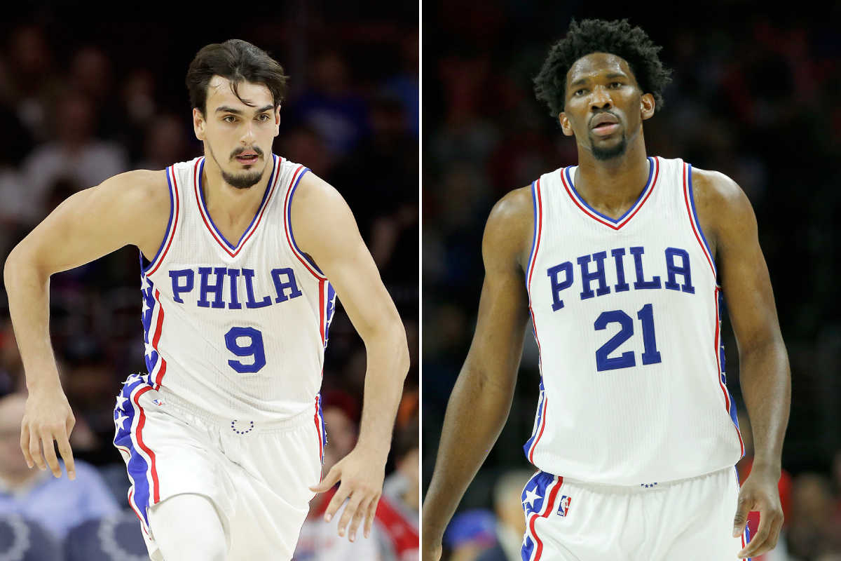 Sixers Dario Saric (left) and Joel Embiid have been named finalists for the NBA rookie of the year award.
