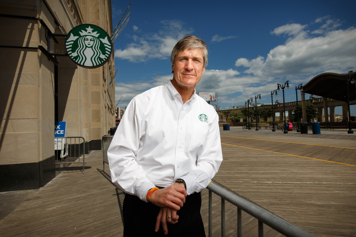 Starbucks licensee John Betz, shown here in front of the Starbucks which is located inside the Boardwalk Hall in Atlantic City, New Jersey.