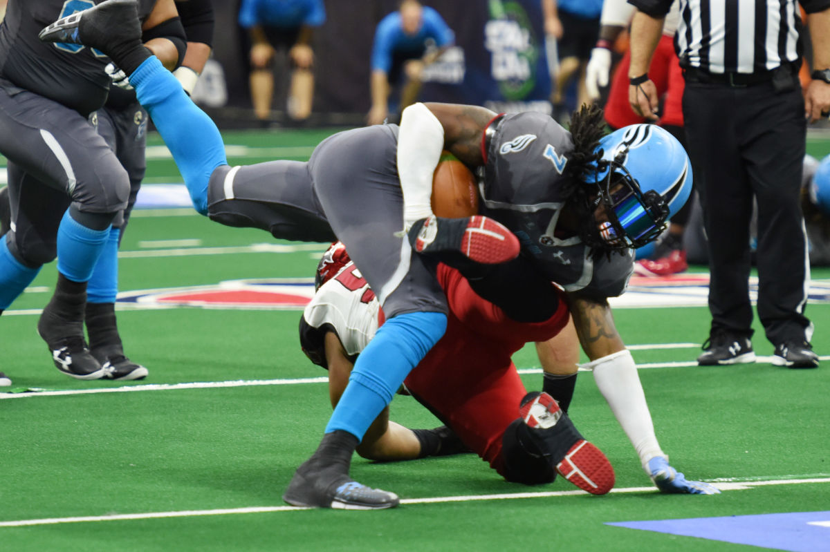 The Soul´s Darius Reynolds drives for a first down past Jacksonville Sharks defender Dexter Jackson on Aug. 14, 2016 in Allentown. He made seven catches for 85 yards and three touchdowns in the Soul´s 64-46 win over Cleveland Saturday night.