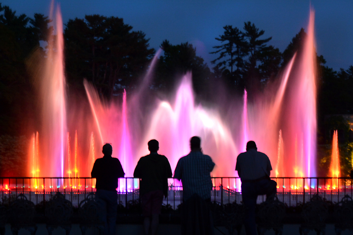 Staff members inspect the spectacular illuminated fountains choreographed to music at Longwood Gardens in Kennett Square on Tuesday evening May 16,2017.