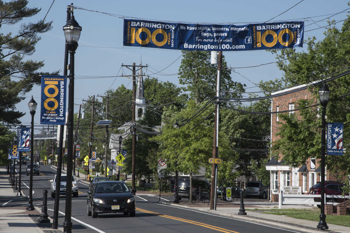 Barrington (NJ) is celebrating its 100th anniversary and Clements Bridge Road is festooned with banners. The town is also building a mini park where a retro clock will be installed.
