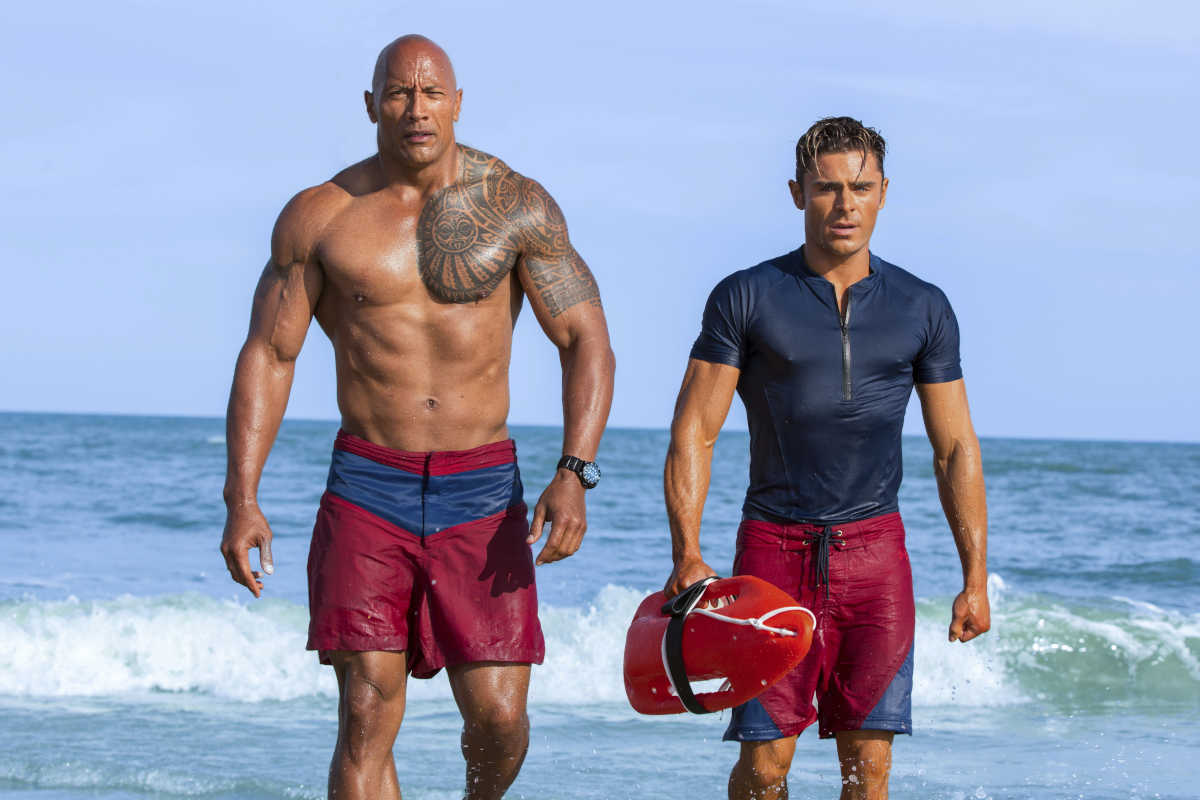 "Dwayne Johnson and Zac Efron in ""Baywatch."""