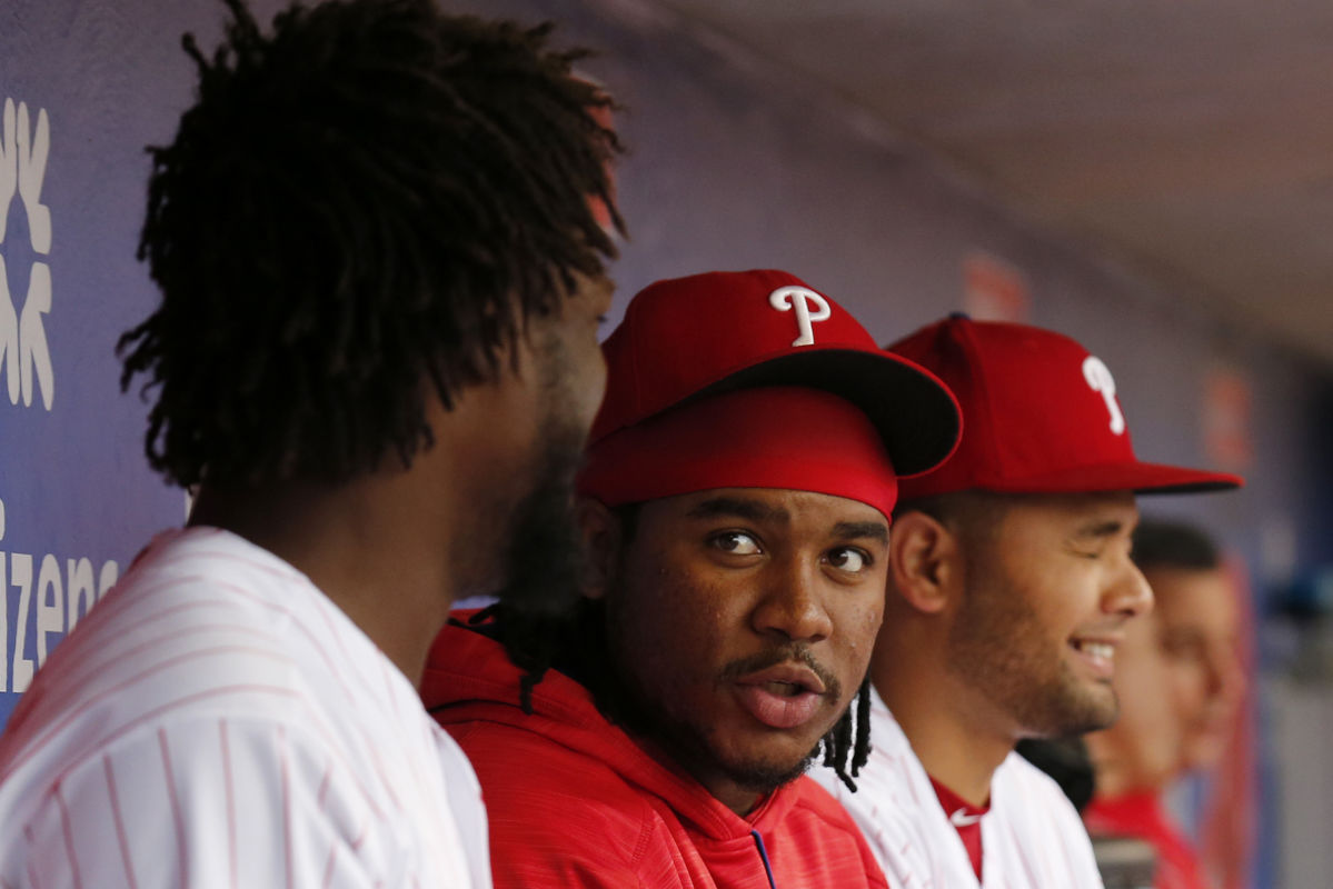Phillies´ third baseman Maikel Franco (center) sits with teammates center fielder Odubel Herrera and third baseman Andres Blanco before the Phillies play the Colorado Rockies on Wednesday, May 24, 2017 in Philadelphia.  Franco did not start Wednesday´s game, but he is scheduled to return to the lineup for Thursday´s series finale.