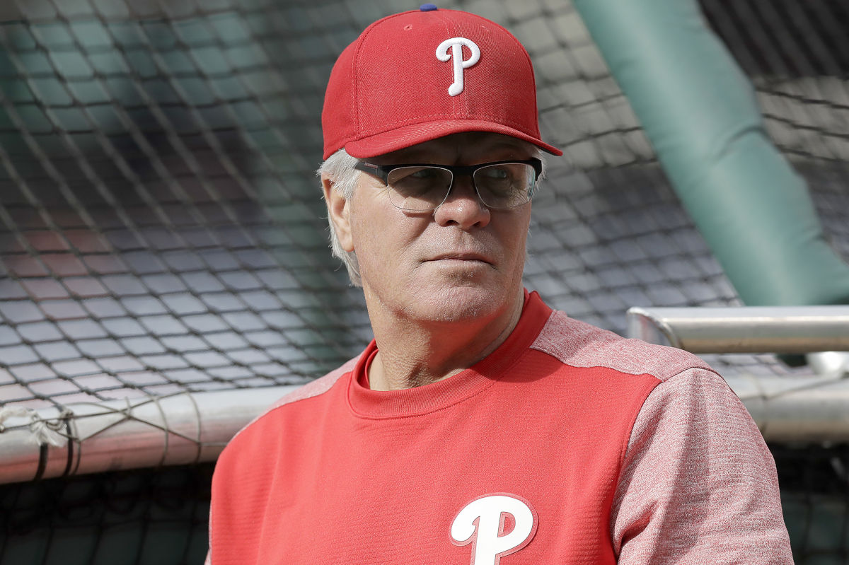Phillies Manager Pete Mackanin during batting practice before the Phillies played the Colorado Rockies on Wednesday, May 24, 2017 in Philadelphia.  YONG KIM / Staff Photographer.