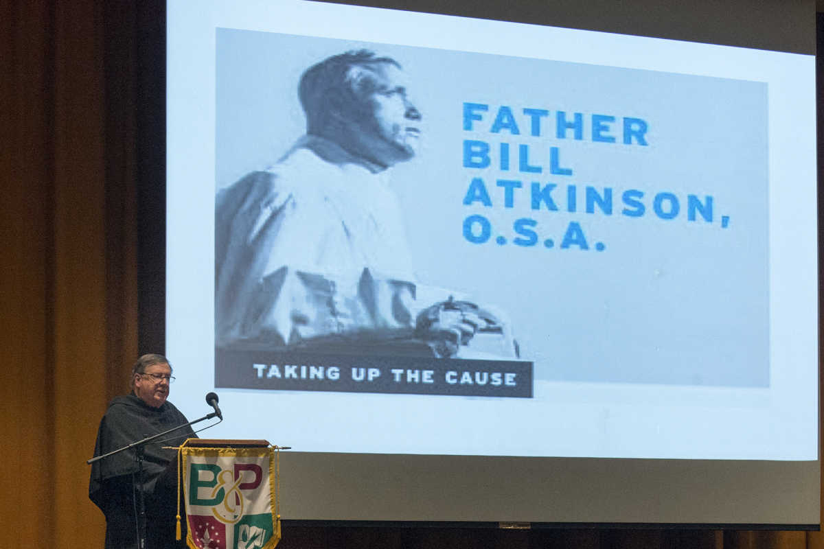 Longtime friend of Father Atkinson and fellow priest from the Order of Saint Augustine, Father Frank Horn speaks at a community meeting at Monsignor Bonner and Archbishop Prendergast High School to discuss Father Bill's cause for sainthood May 23, 2017. Father Bill Atkinson, a former teacher at Bonner, who died in 2006 is being proposed for sainthood by Archbishop Chaput.