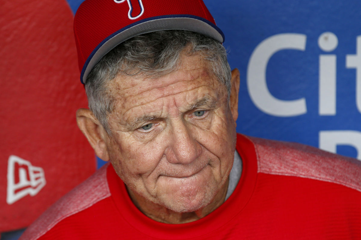Phillies bench coach Larry Bowa meets with the media to talk about former Phillies Hall of Fame pitcher Jim Bunning before the Phillies played the Cincinnati Reds on Saturday, May 27, 2017 in Philadelphia.