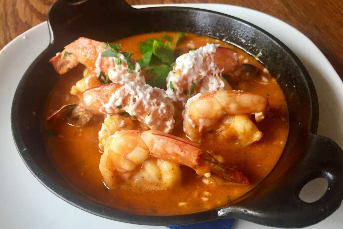 Shrimp saganaki from...?. Craig LaBan/staff