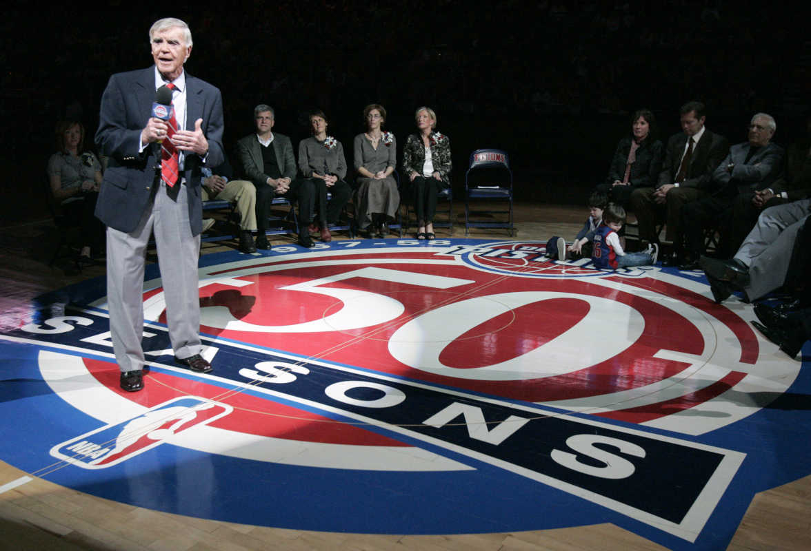Former Detroit Pistons general manager Jack McCloskey addresses fans during a halftime ceremony where he was honored by the team in 2008