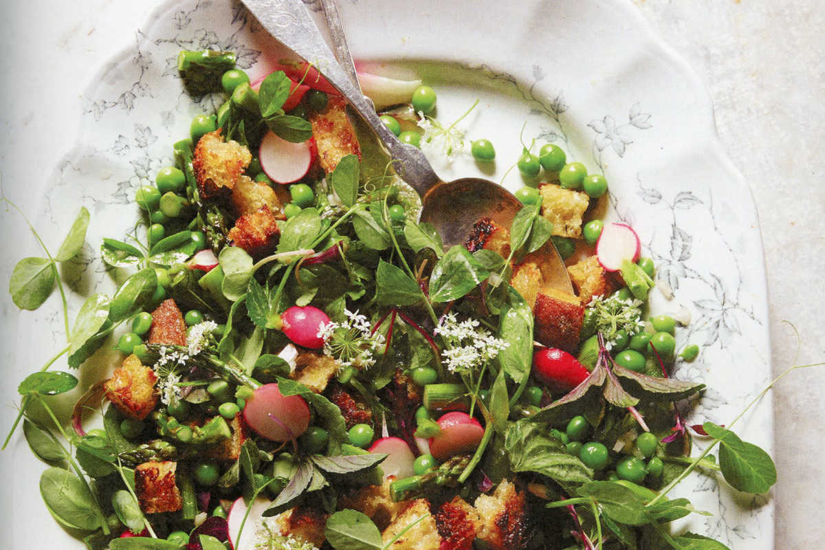 Spring Bread Salad with asparagus, radishes, peas & mint from cookbook The Lost Kitchen by Erin French