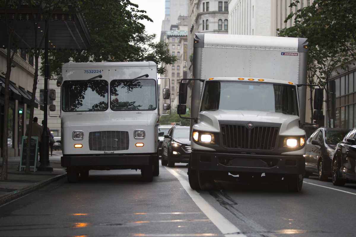 Traffic is blocked by a USPS truck on the 800 block of Chestnut Street in Philadelphia on June 6, 2017.