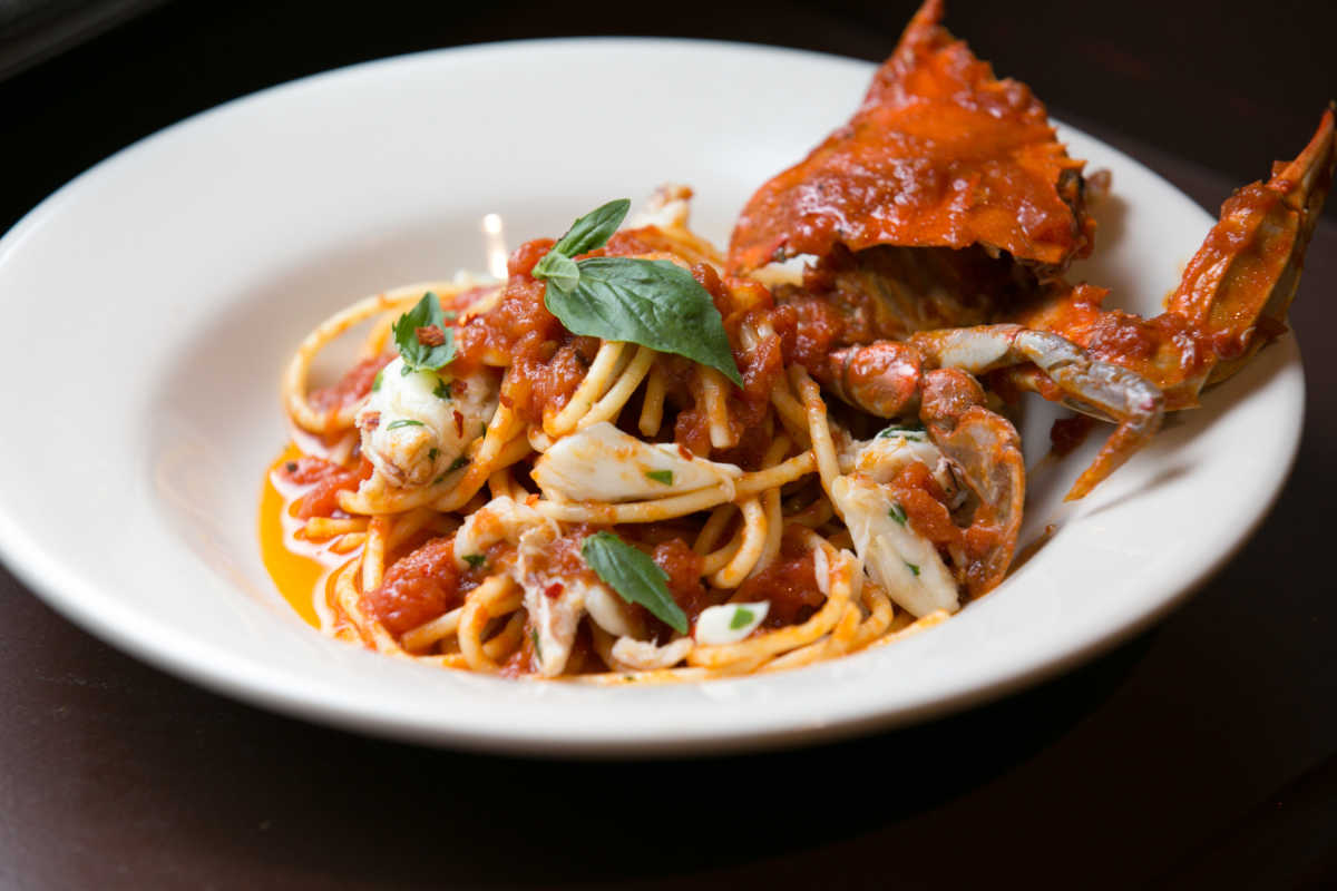 The spaghetti and crabs at the Palizzi Social Club.