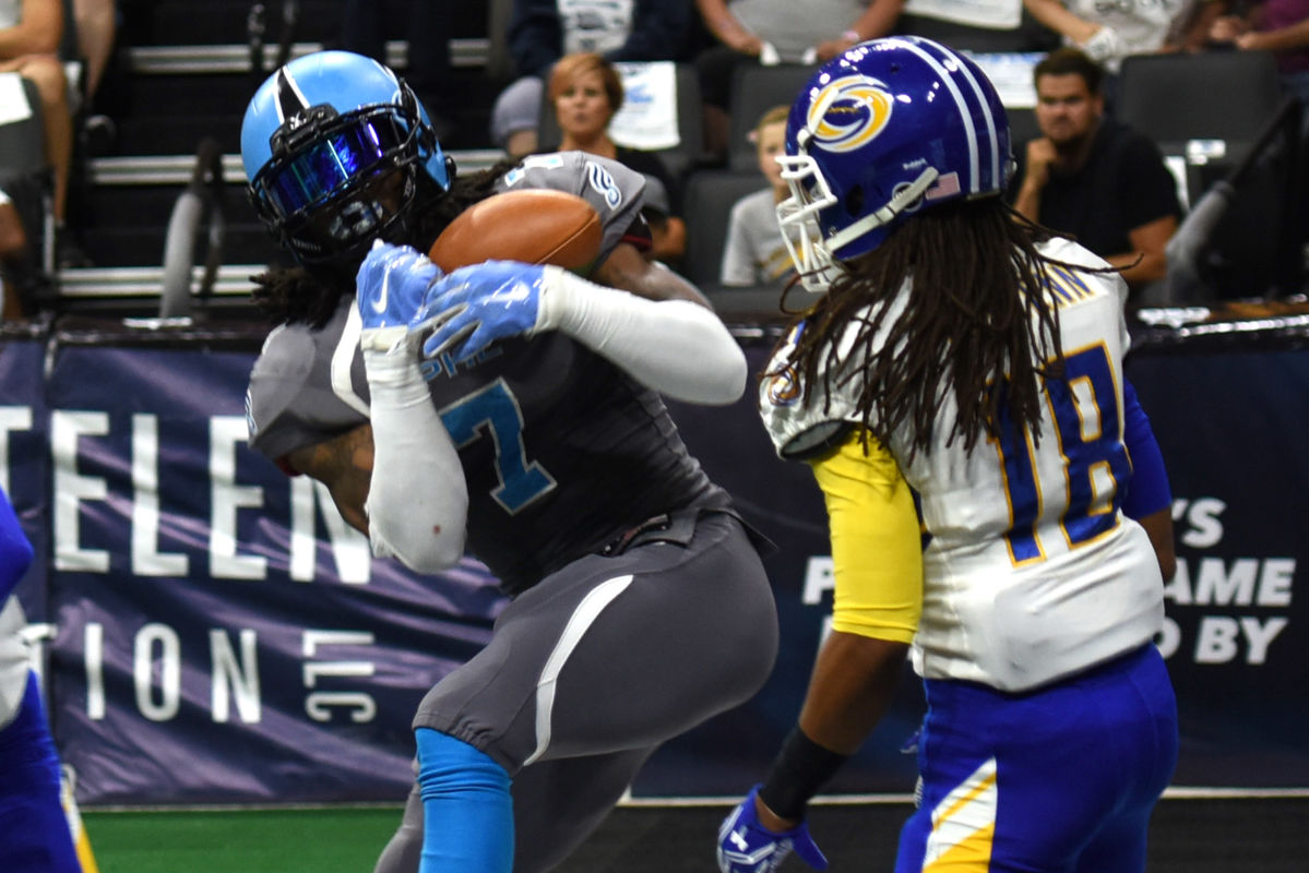 The Soul´s Darius Reynolds , left, pulls pulls in a pass and beats the Tampa Bay Storm´s Cameron McGlenn in the endzone to score a touchdown in the first quarter of Round One Arena Football playoff game Sunday Aug. 7, 2016 in Allentown, Pa.  Reynolds caught six passes for 115 yards and five touchdowns Saturday night to lead the Soul´s receiving corps in a 62-41 win over the Storm.