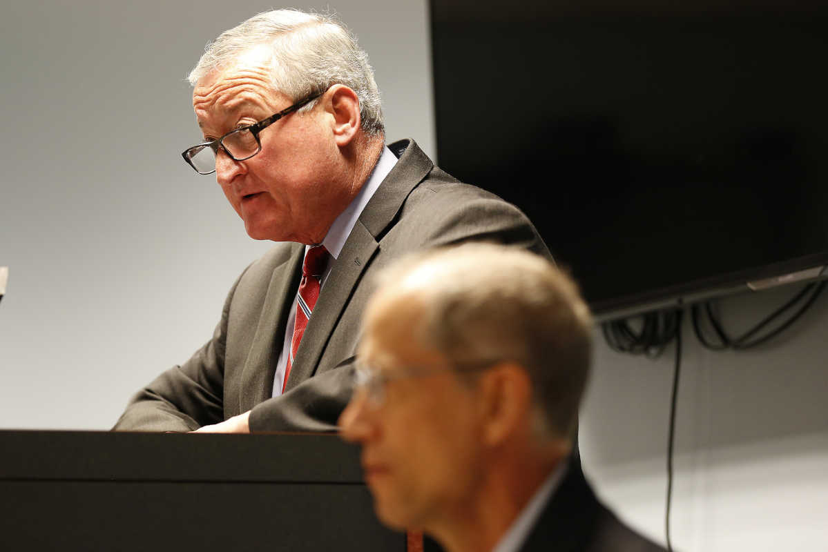 Mayor Jim Kenney, left, speaks as Dr. Thomas Farley, Philadelphia Department of Public Health, listens during a news conference at the MSB in Philadelphia, PA on June 20, 2017. Mayor Kenney announced the final report and recommendations from the Philadelphia Childhood Lead Poisoning Prevention Advisory Group.