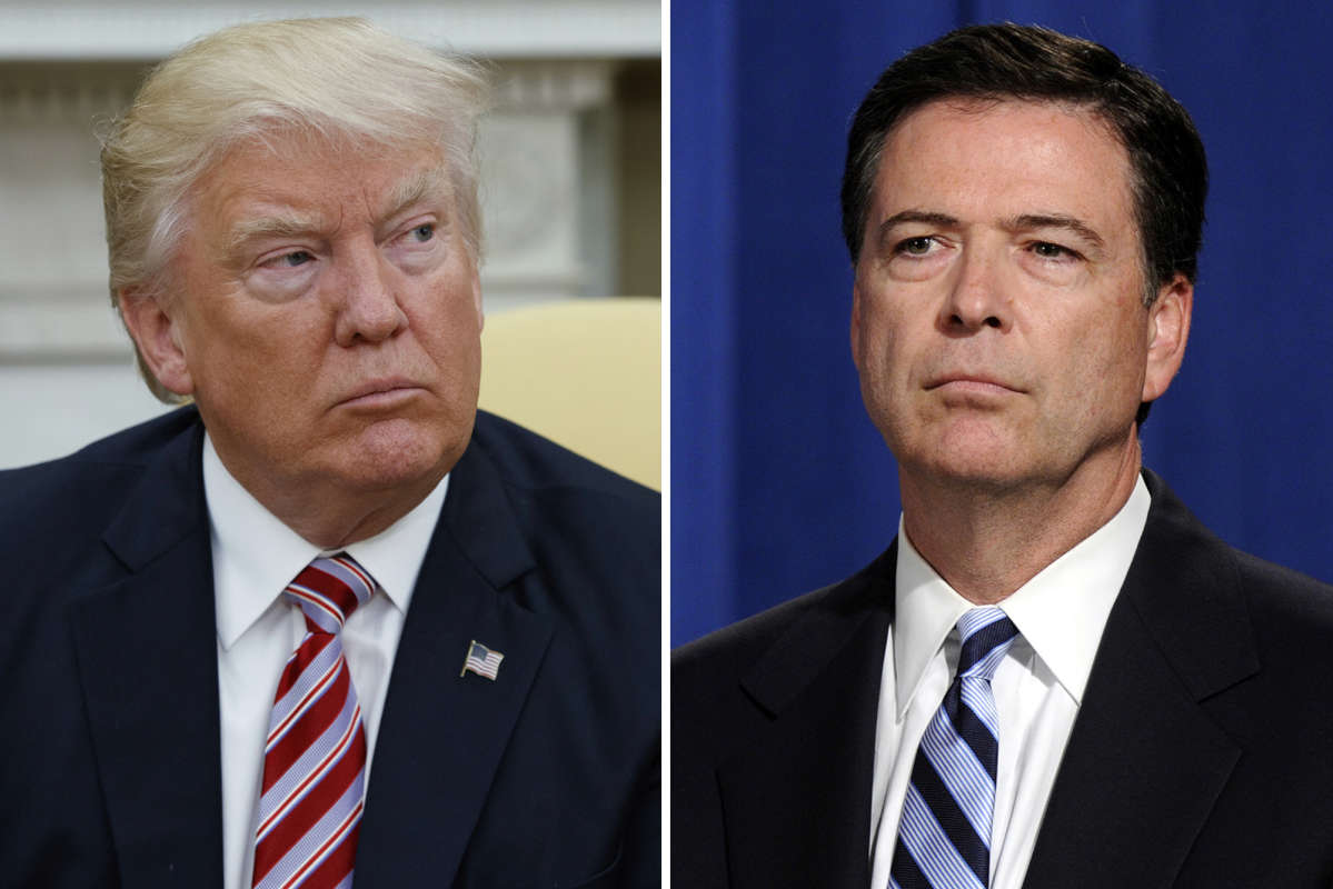 President Donald Trump, left, ans fired FBI Director James Comey, right.