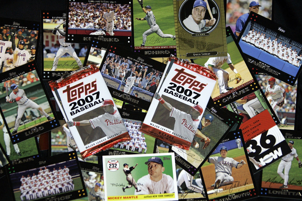 Topps baseball cards are seen in Boston, in this March, 6, 2007 file photo. Philadelphia was once a hub for producing baseball cards thanks to the Bowman Gum Co. popularizing the concept of combining cards and gum in a pack. Bowman was absorbed by its New York rival Topps in the 1960s.<br /><br />